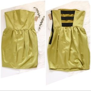 NWT Lime Satin Strapless Strappy Cocktail Dress 2